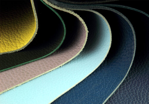 Different colour leather samples