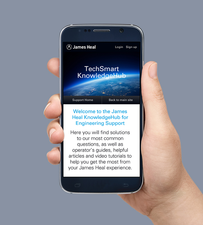 KnowledgeHub support desk shown on a mobile phone