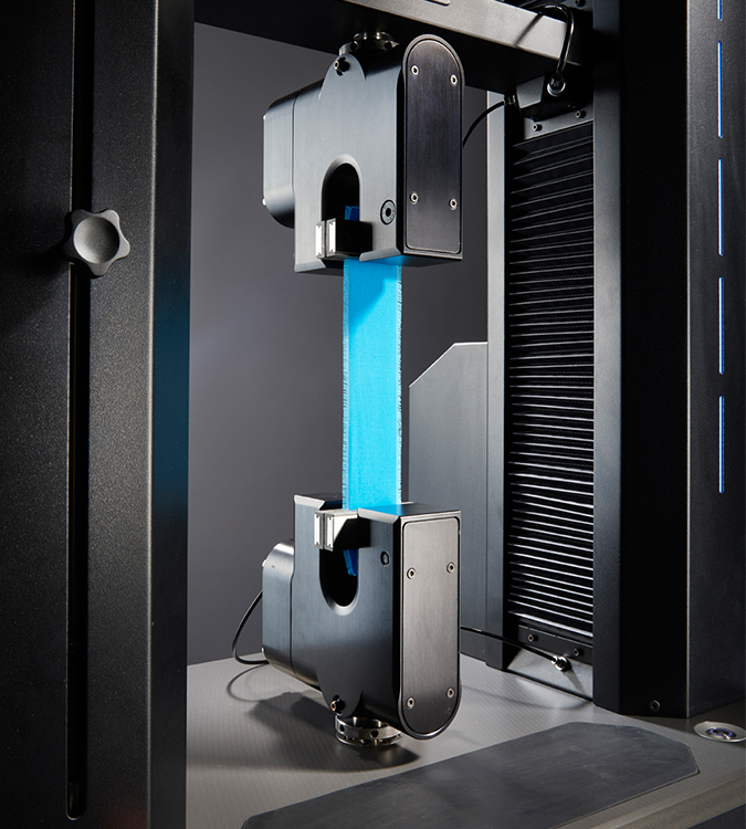 T37 Pneumatic Fabric Grips in use on Titan10 Universal Strength Tester with blue fabric