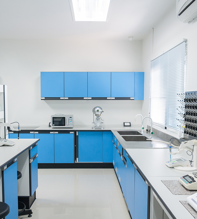 conditioned textile laboratory with blue cupboards