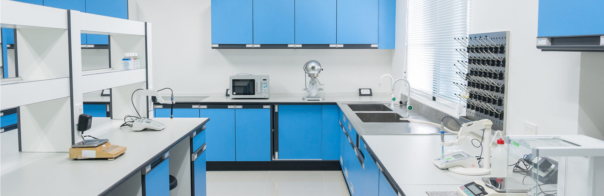 conditioned laboratory for textile testing with blue drawers