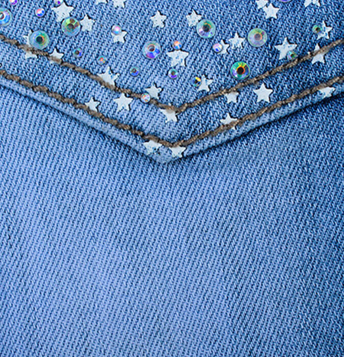 denim fabric with diamante attachments, as would be tested on DynaWash durability tester