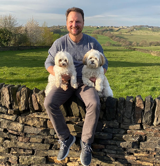 Neil Pryke with his dogs