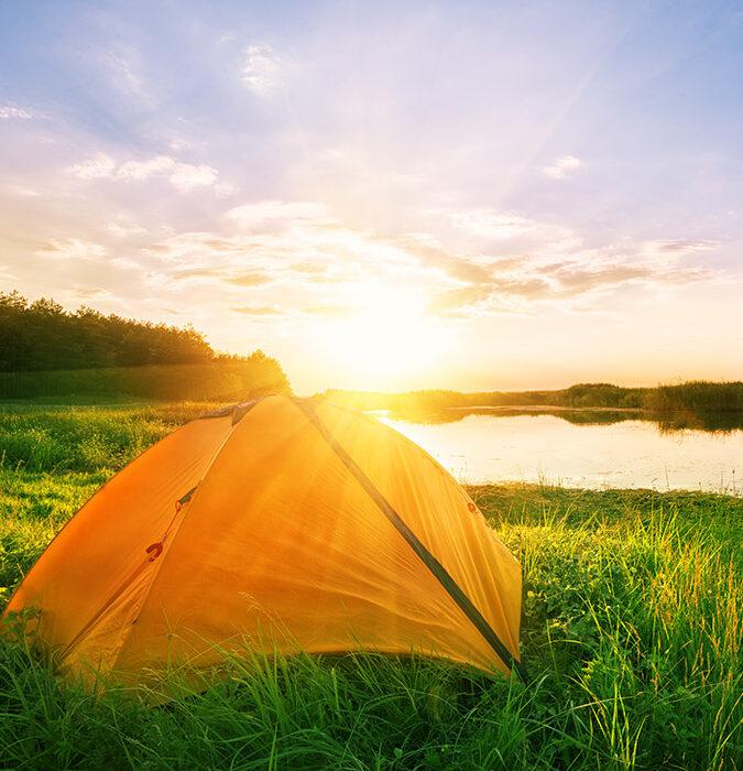 sunlight over a tent