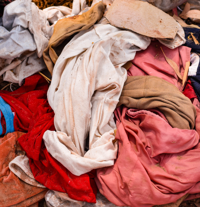 clothing thrown away on a pile