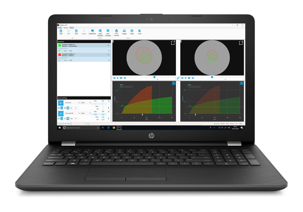 WickView software showing wicking on a laptop